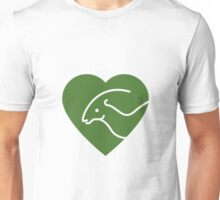 Dinosaur heart: Parasaurolophus (Green on white) Unisex T-Shirt