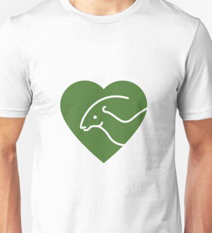 Dinosaur heart: Parasaurolophus (Green on white) Unisex T-Shirt
