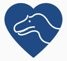 Dinosaur heart: Torvosaurus (Blue on white) Kids Tee