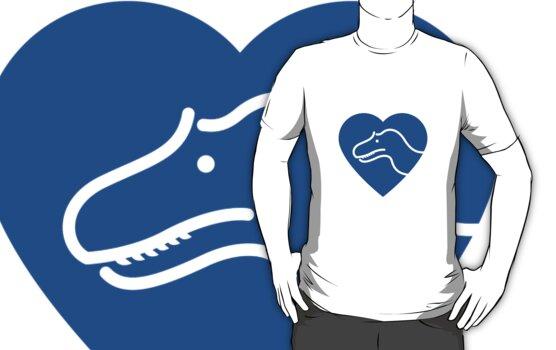 Dinosaur heart: Torvosaurus (Blue on white) by David Orr