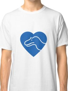 Dinosaur heart: Torvosaurus (Blue on white) Classic T-Shirt