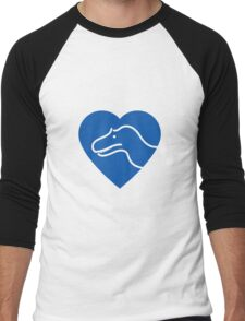 Dinosaur heart: Torvosaurus (Blue on white) Men's Baseball ¾ T-Shirt