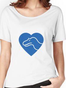 Dinosaur heart: Torvosaurus (Blue on white) Women's Relaxed Fit T-Shirt