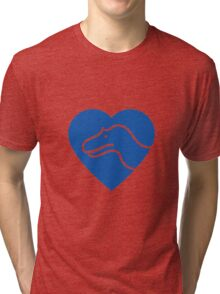Dinosaur heart: Torvosaurus (Blue on white) Tri-blend T-Shirt