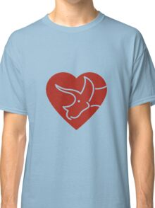 Dinosaur heart: Triceratops (Red on white) Classic T-Shirt