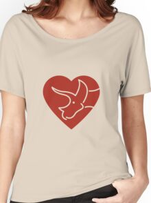 Dinosaur heart: Triceratops (Red on white) Women's Relaxed Fit T-Shirt