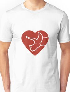 Dinosaur heart: Triceratops (Red on white) T-Shirt
