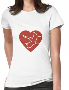 Dinosaur heart: Triceratops (Red on white) Womens Fitted T-Shirt