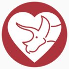 Dinosaur heart: Triceratops sticker by David Orr