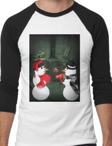 U MELT MY HEART FUN SNOWMAN VARIOUS APPAREL-- PICTURE,CARD,PILLOW AND OR TOTE BAG Men's Baseball ¾ T-Shirt