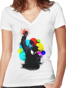 Splatter Pop! Women's Fitted V-Neck T-Shirt