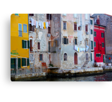 The Essence of Croatia - Pastel Houses of Rovinj Canvas Print