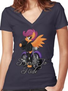 Born to Ride (My Little Pony: Friendship is Magic) Women's Fitted V-Neck T-Shirt