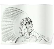 Native American Playing The Flute - Pencil Drawing Poster