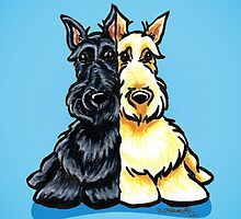 Two of a Kind Scotties by offleashart