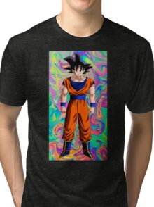 Goku ~ Rainbow Swirl Background Tri-blend T-Shirt