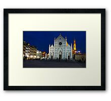 Blue Hour - Santa Croce Church, Florence, Italy Framed Print
