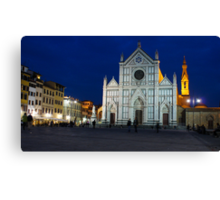 Blue Hour - Santa Croce Church, Florence, Italy Canvas Print