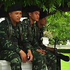 3 Thai Guards at a Palace in Bangkok by Christian Eccleston
