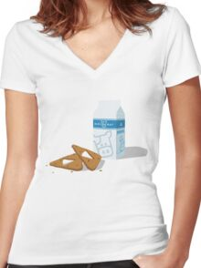 Milk & Triforce Cookies Women's Fitted V-Neck T-Shirt