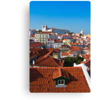 Alfama District in Lisbon with Monastery of Sao Vicente de Fora Canvas Print