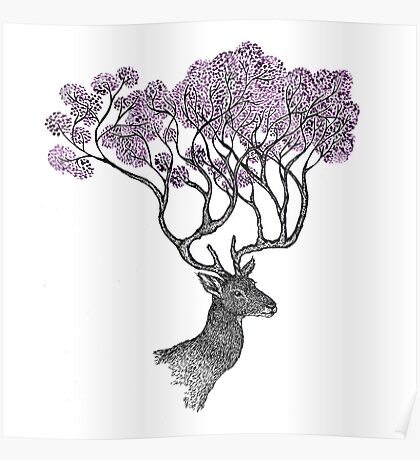 Purple Blossom Antlers Poster