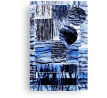 Blue Beam Collage - Woodcut Print Canvas Print