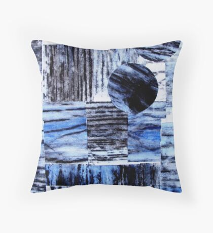 Blue Beam Collage - Woodcut Print Throw Pillow
