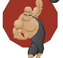 Smiling strong man lift a barbell by Ryna Synentchenko
