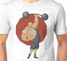 Smiling strong man lift a barbell Unisex T-Shirt