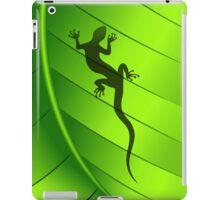 Lizard Gecko Shape on Green Leaf iPad Case/Skin