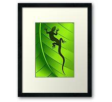 Lizard Gecko Shape on Green Leaf Framed Print