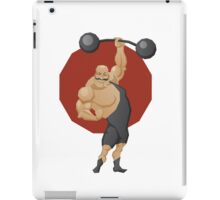 Smiling strong man lift a barbell iPad Case/Skin