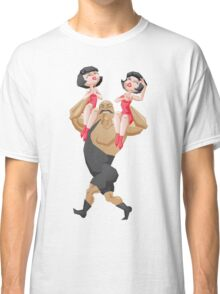 smiling mighty strongman hold a two girls in shoulders Classic T-Shirt