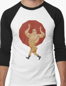 Smiling stron man goes on parade alle in leopard leotard Men's Baseball ¾ T-Shirt