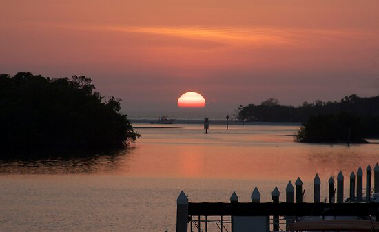 Gulf sunset at the marina by Brenda Dow