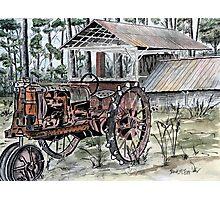 farm tractor vintage art print Photographic Print
