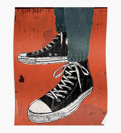 Hi-top shoes print poster art painting punk Poster