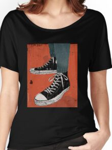 Hi-top shoes print poster art painting punk Women's Relaxed Fit T-Shirt