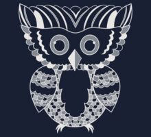 Silver Owl Vector Illustration for Dark Tees by pandamanda827