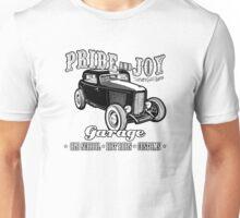 Pride and Joy Hot Rod Garage white bkg Unisex T-Shirt