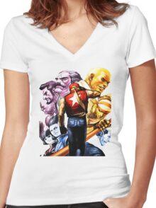 Fatal Fury Boss Rush Women's Fitted V-Neck T-Shirt