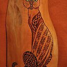 Pyrography: Celtic Cat -(please view large). by aussiebushstick