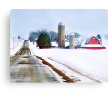 Farm Along a Snowy Road Metal Print