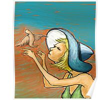 Girl With Bird   Poster