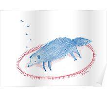 Blue Sleeping Dog Poster