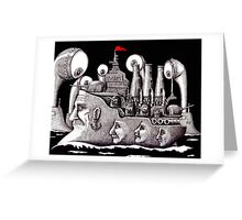 Revolutionary Ship ink pen drawing on paper Greeting Card