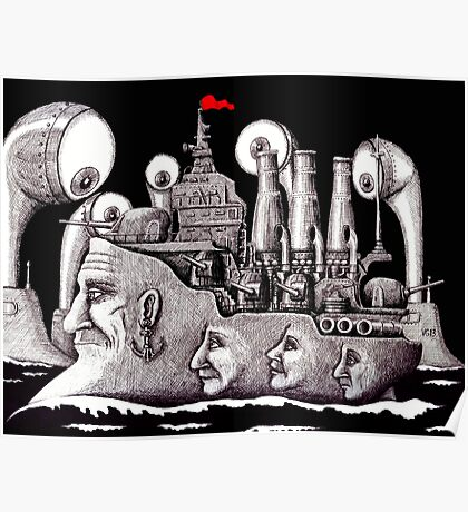 Revolutionary Ship ink pen drawing on paper Poster