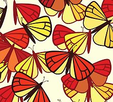 Butterflies Wings Insects Red Orange Yellow Black  by sitnica