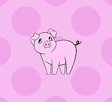 Drawn Cartoon Cute Little Pig Pink, Black by sitnica